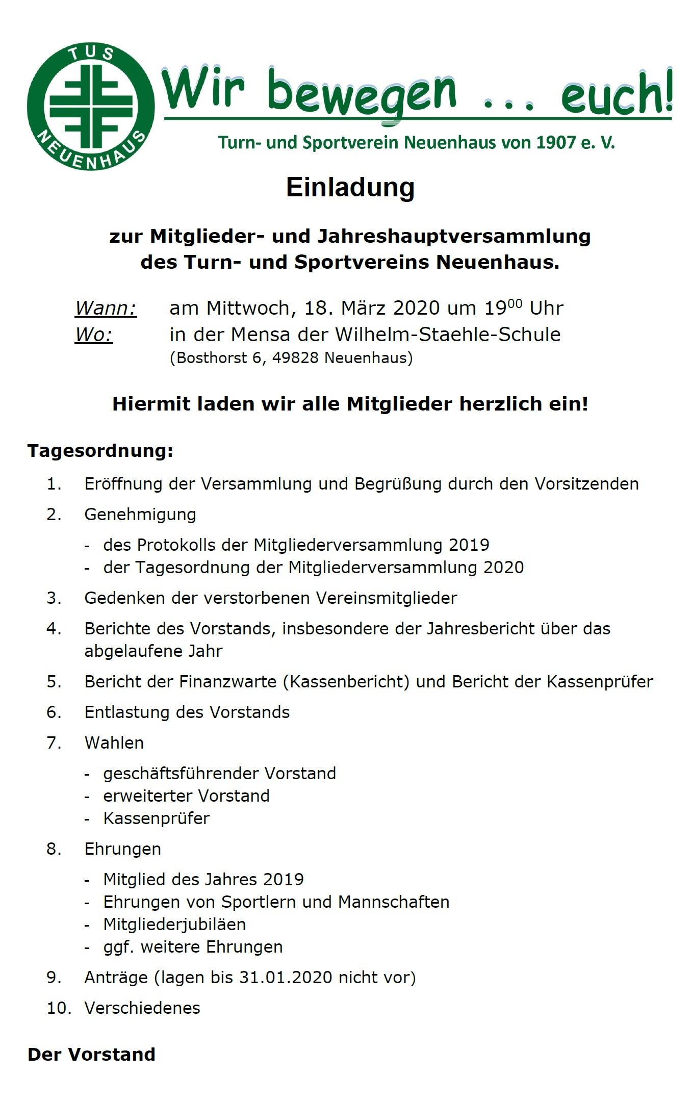 Einladung zur Jahreshaupt- und MItgliederversammlung am 18. März 2020
