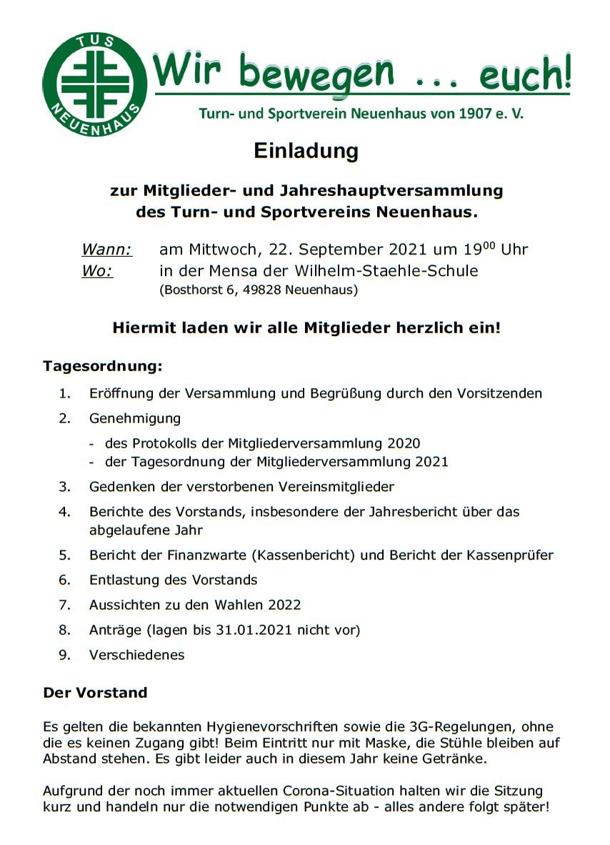 Einladung JHV 22.09.2021