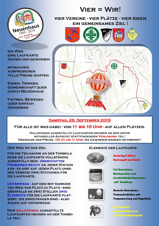 650-Jahre-Neuenhaus - Vier Vereine = eine Veranstaltung --> am 28. September 2019