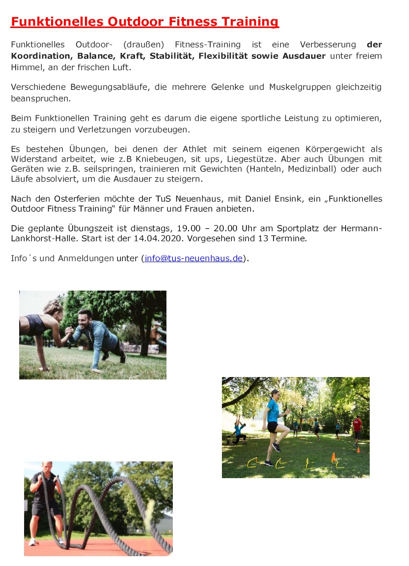 Outdoor-Fitness --> am 23. Oktober 2019 geht es los